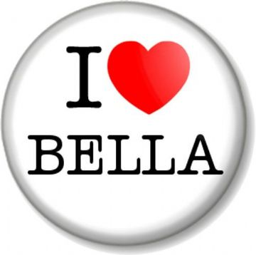 I Love / Heart BELLA Pinback Button Badge Swan Twilight Saga Books Novels Movie Vampires